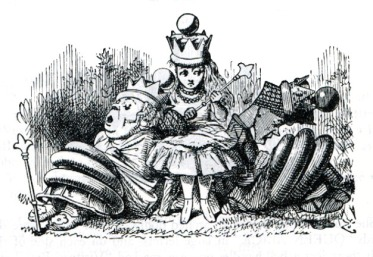 Red Queen, and White Queen, and Alice, and all — Illustration to the ninth chapter of Through the Looking Glass by John Tenniel.